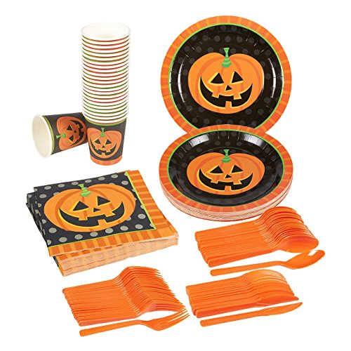 Disposable Dinnerware Set - Serves 24 - Halloween Party Supplies - Includes Plastic Knives, Spoons, Forks, Paper Plates, Napkins, Cups, Assorted Colors