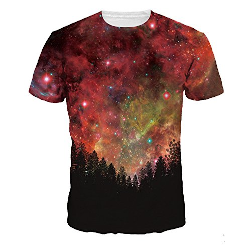NEWCOSPLAY Colorful 3D Printed Short Sleeve T-Shirt Fashion Couple Tees (M, Red Forest) (Best Couple Printed T Shirts)