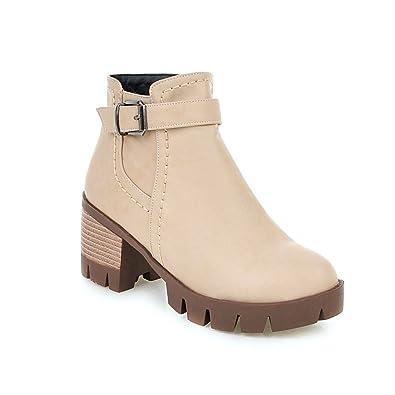 b0711dd3e02ee Amazon.com   Lucksender Womens Fashion Chunky Heel Martin Boots ...