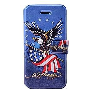 TY-La moda del águila / EE.UU. bandera del modelo del arte estuche de cuero con soporte y ranuras para tarjetas de 5/5s iphone