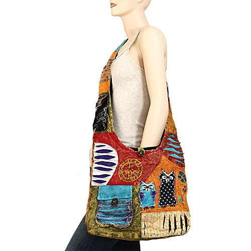 Sling Cotton Crossbody Bohemian Variety Patterns Owls 2020 Shoulder Peace and Sign Hippie Handmade Bag ffX4Iw