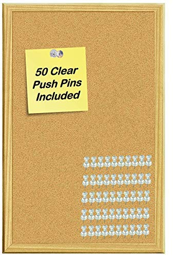 Hanging Cork Board - Wood Framed Cork Bulletin Board 11x17 with 50 Clear Push Pins