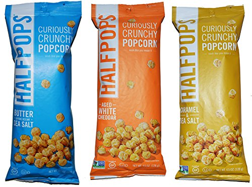 Halfpops Gluten Free Non-GMO Curiously Crunchy Popcorn Variety Pack of 3 (4.5 Ounce)