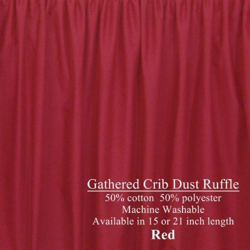 (Extra Long Gathered Cribskirt 21 inch Crib Dust Ruffle Color: Red)