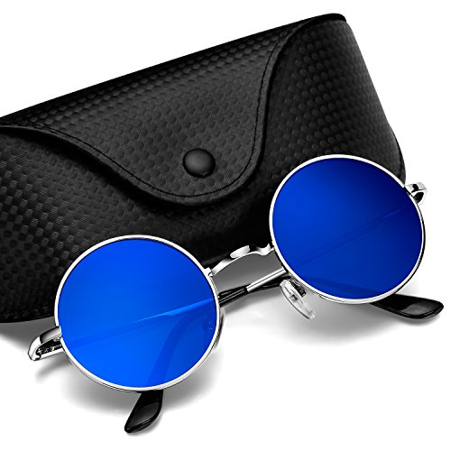 Argus Le Lennon Retro Round Vintage Polarized Vintage Sunglasses with Plain - Lense Sunglasses Round