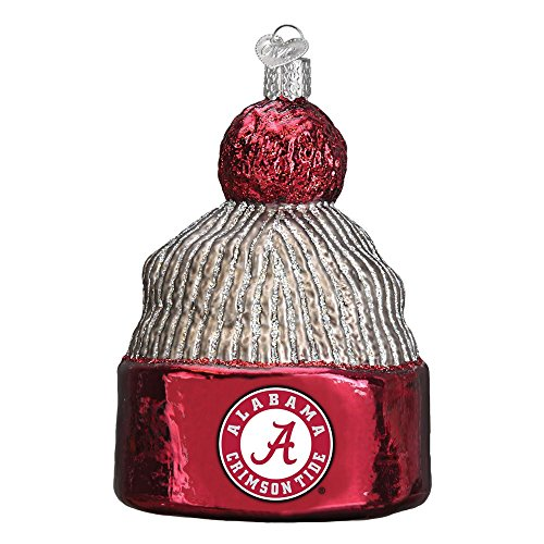 (University of Alabama Beanie Glitter Glass Christmas Ornament)