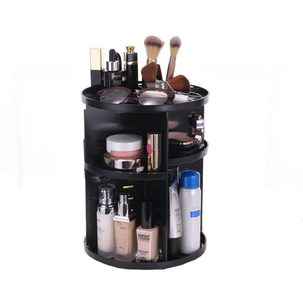 Evoio 360 Degree Rotation Makeup Organizer, Multi-Function Cosmetic Case Skincare Storage Rack, Rotary Cosmetics Storage Box Large Capacity for Creams, Makeup Brushes,Lipsticks (Black)