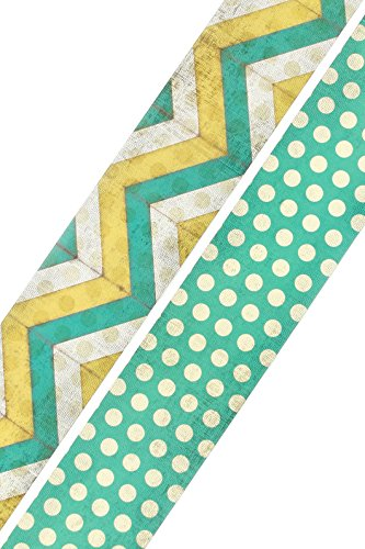 Renewing Minds Retro Chic Double-Sided Border Trim, Multi-Colored Dotted Chevron and Turquoise with Dots, Pack of Twelve 38 inch Strips (Retro-chic)