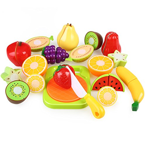 Cutting Fruit Set (Play Food Set for Kids & Cutting Fruit Set Toy Food for Pretend Play, Peradix Fake Plastic Play Kitchen Food Accessories Set with Velcro Plastic Cutting Board Knife for Imagination Education)