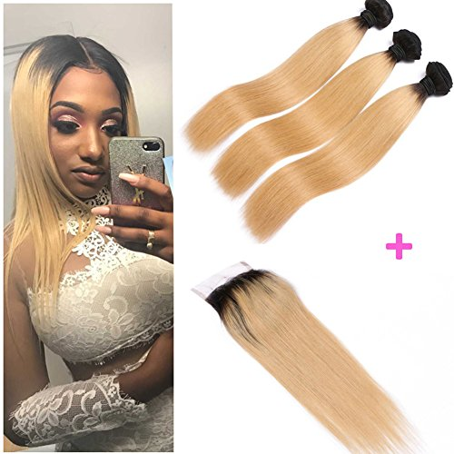Brazilian Straight Hair 3 Bundles With a Free Part Lace Closure 100% Unprocessed Human Hair Bundles 1B/27 Color (24 26 (Quick Costumes For Redheads)
