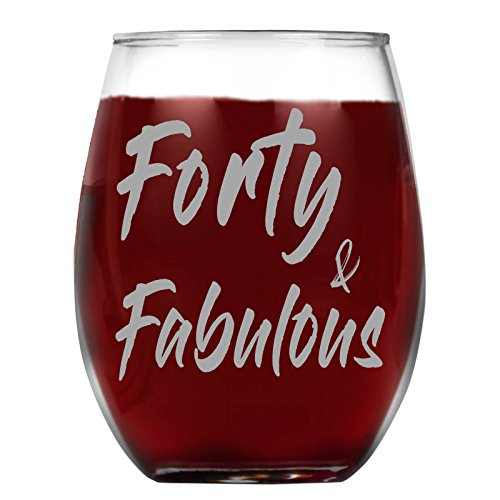 40th Birthday Wine - Shop4Ever Forty & Fabulous Laser Engraved Stemless Wine Glass ~ 40th Birthday Gift ~ (15 oz., Stemless)