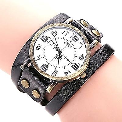 COCOTINA Restoring ancient ways Dial Vintage Leather Bracelet Quartz Wrist Watch Men Boy Black