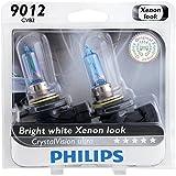Philips 9012CVB2 CrystalVision Ultra Upgrade Headlight Bulb (9012 HIR2), 2 Pack