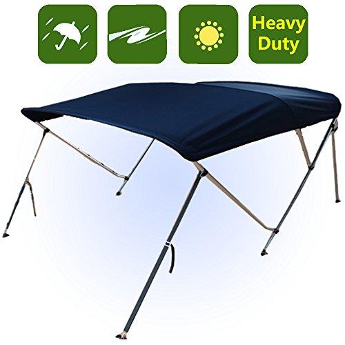RockyMRanger 3 Bow Boat Navy Blue Bimini Top With Free Clips Sun Canopy Cover 6 ft Length 67''-72'' Beam -