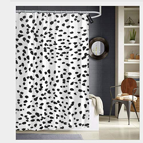 "Puloa Nadia Black and White Animal Print Dalmatian spot Spots dots Shower Curtains with 12 Hooks Bathroom Curtain 72"" x 72"""