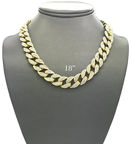Mens Iced Out Hip Hop Gold tone CZ Miami Cuban Link Chain Choker Necklace (18