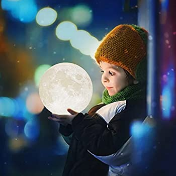 Mydethun Moon Lamp Moon Light Night Light for Kids Gift for Women USB Charging and Touch Control Brightness 3d Printed Warm and Cool White Lunar Lamp (7.1IN)