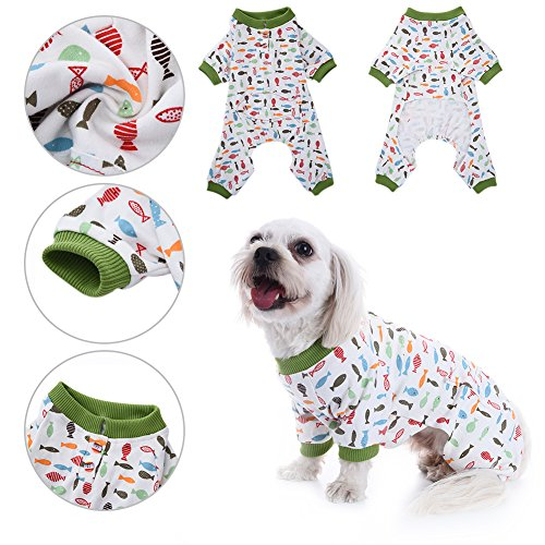 Dog Pajamas Pet Cat Cotton Sleep Clothes Cozy Puppy Doggy Home Wear Leisure & Durable Pet Jumpsuit by Awtang M