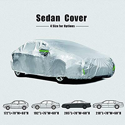 Tecoom LSC03 Waterproof UV-Proof Windproof Design Car Cover with Zipper Storage and Lock for All Weather Indoor Outdoor Fit 191-200 inches Sedan: Automotive
