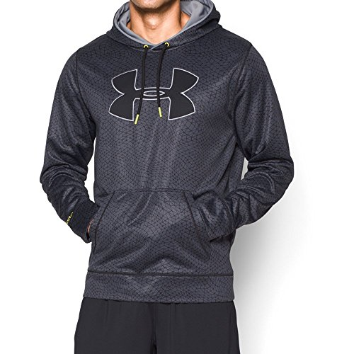 Under Armour Men's Armour Fleece Big Logo Pattern Hoodie, X-Large, Stealth Gray/Steel/Sun Bleached