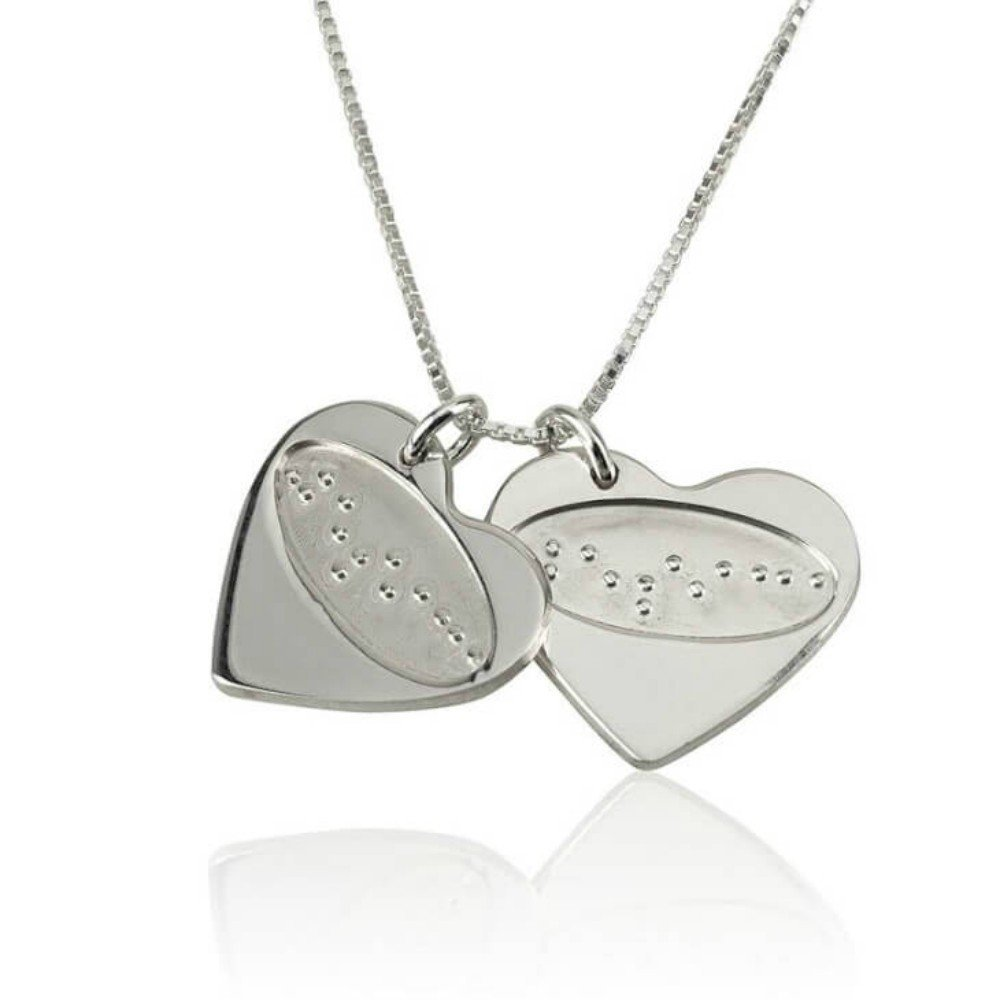 Love Necklace with Braille Text Heart Braille Necklace