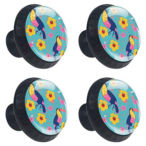 Idealiy Floral Toucans Cabinet Dresser Drawer Knobs Glass Pull Handle for Cabinet Door Wardrobe Cupboard