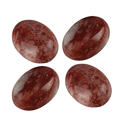 (8pcs Top Quality Natural Red Silk Stone Oval Cabochon Flatback Gemstone Cabochons 16x12mm GQ9)