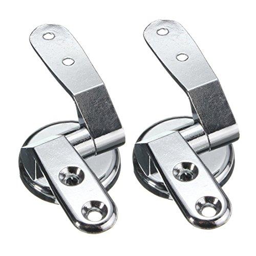 Hinges - TOOGOO(R)Replacement Toilet Seat Hinge Mounting Set Chrome Hinges + Fittings Repair Kit