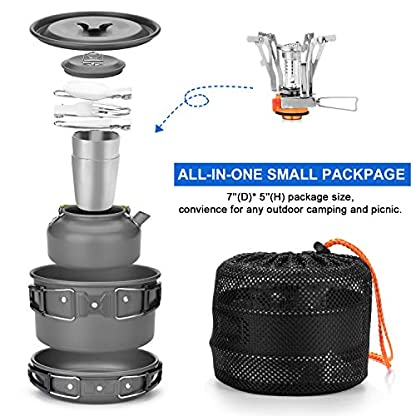 Odoland Camping Cooker Pan Set Aluminum Camping Cookware Kit for 2 People, Portable Outdoor Pot Pan Stove Kettle 2 Cups… 6