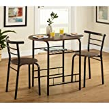 3 Piece Wood Dining Set, Table and 2 Padded Chairs, Sturdy Metal Frame, Saves Space, Extra Shelf, Ideal for Small Apartments, Kitchen, Bistro, Furniture,Multiple Colors (Black/Espresso)