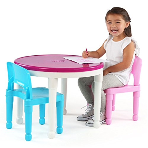 51%2BgFYcGo L - Tot Tutors Kids 2-in-1 Plastic LEGO-Compatible Activity Table and 2 Chairs Set, Bright Colors