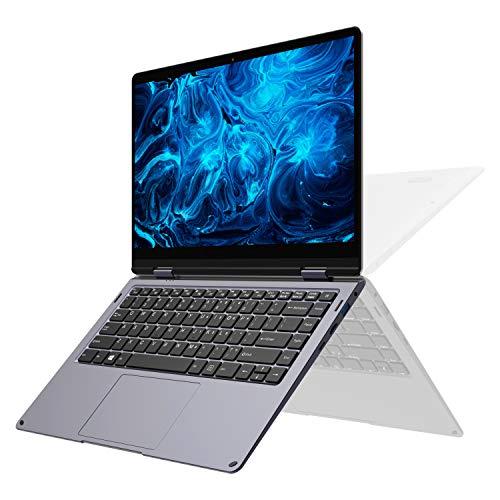 XIDU PhilBook Max 2-in-1 Convertible Laptop, 14.1 Inch FHD Slim Bezel Touchscreen, Intel Celeron Processor, 6GB RAM, 128GB SSD, Backlit Keyboard, Windows 10 Notebook, Star Gray