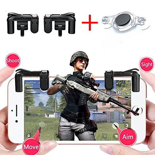 Price comparison product image Bomach Mobile Game Controller, 1 Pair Sensitive Fire Shoot Gaming Trigger Button L1R1 Aim Keys Shooter Controller Gamepad and 1Pcs Free Mobile Joystick for iPhone, Android Smart Cell Phone PUBG