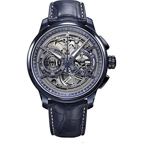 Maurice Lacroix Masterpiece Chronograph Skeleton 45mm Watch | Blue/Blue Leather -