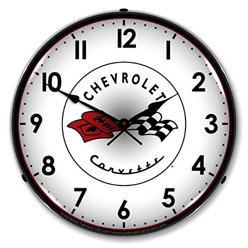New C1 Corvette Retro Vintage Style Advertising Backlit Lighted Clock - Ships Free Next Business Day to Lower 48 States