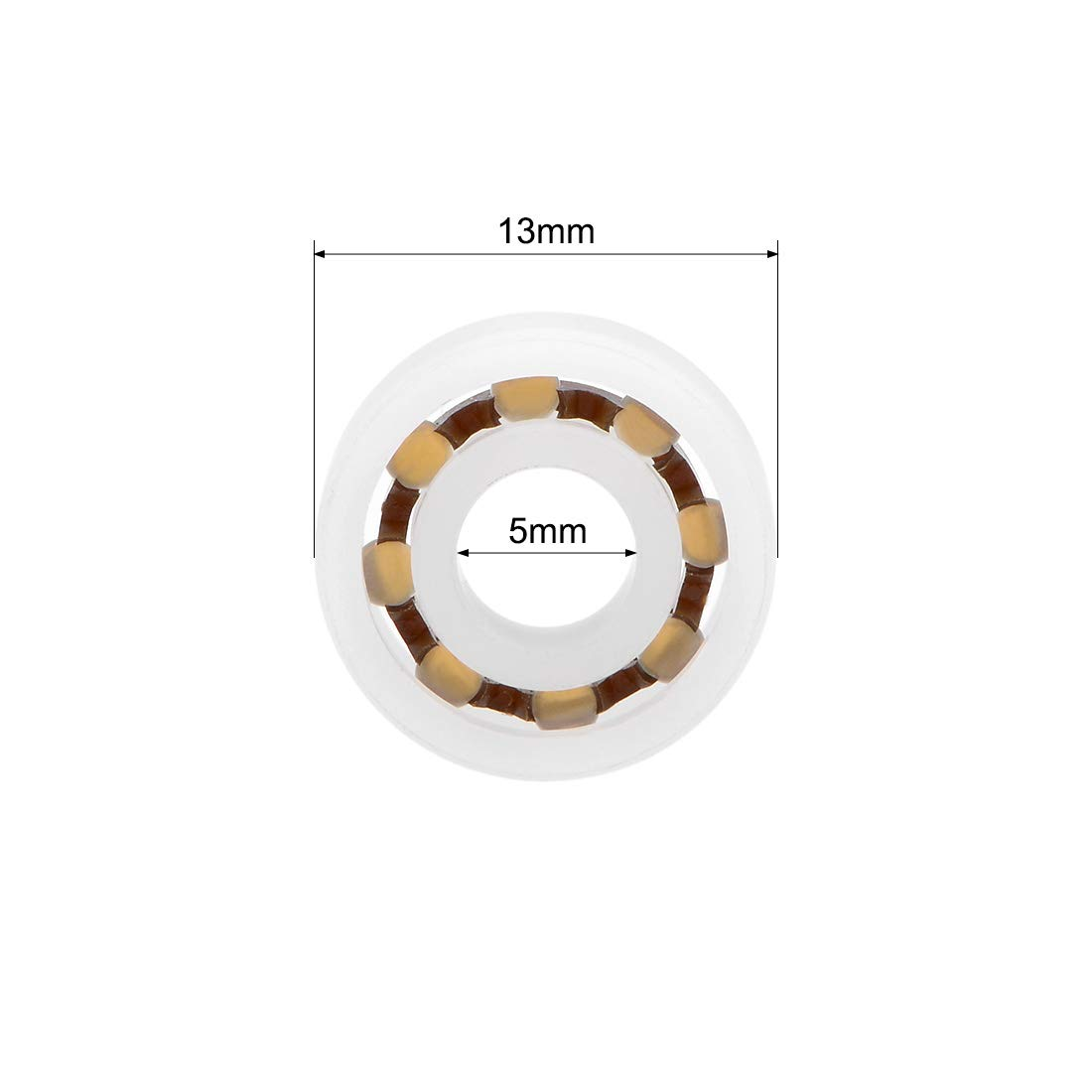uxcell/® 695 POM Plastic Bearings 5x13x4mm Glass Ball Nylon Cage Pack of 5
