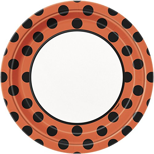 Orange & Black Polka Dot Halloween Paper Party Plates, 8ct -