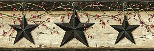 [Chesapeake PUR44602B Ennis Sand Rustic Barn Star Wallpaper Border] (Barn Star Wallpaper)