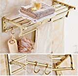 GL&G European Luxury Gold Copper Bathroom Bath Towel Rack Double Towel Bar Bathroom Storage & Organization Holder Towel Bars Wall Mount Bathroom Accessories Bath Wall Shelf Rack,6023.513.5cm