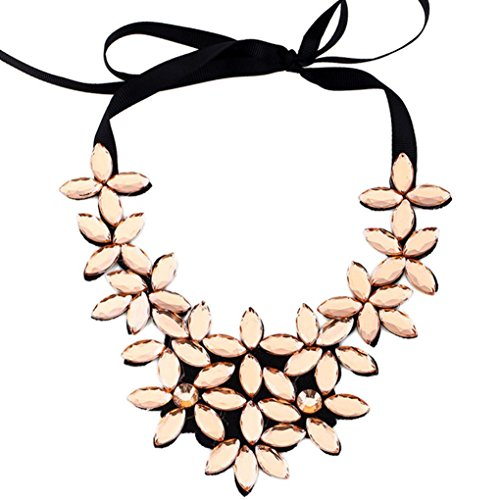 Fheaven Flower Ribbon Chain Short Necklace Pendant Crystal Choker Chunky Collar Necklace (Gold)