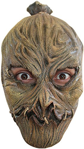 Ghoulish Productions Child Size Scarecrow Mask Kids Scary Halloween Mask Full Over Head Latex Mask