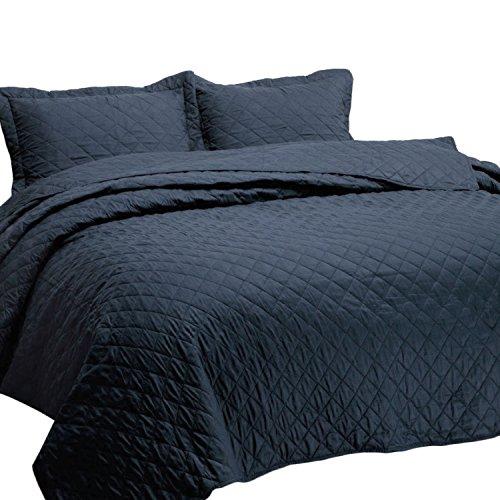 Bedsure 3-Piece Bedding Quilt Set Navy Blue Full/Queen Size