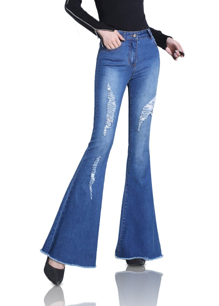 Smibra Womens Fashion Slim Fit Mid Waist Boot Cut Destroyed Ripped Jeans Slacks