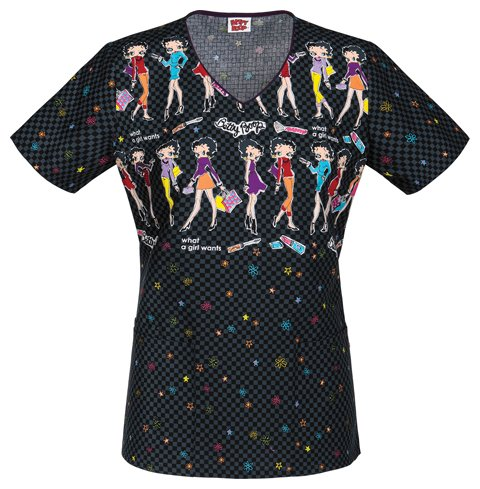 tooniforms-6802cb-womens-v-neck-top-what-a-girl-wants-x-small