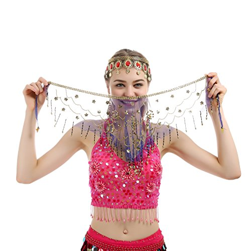 [JEANSWSB Charming Belly Dance Tribal Face Veil With Beads, Tassel Halloween Costume Accessory] (Golden Belly Dancer Costumes)