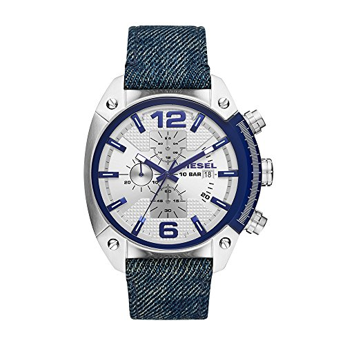 Diesel Men's Overflow Quartz Stainless Steel and Denim Chronograph Watch, Color: Silver-Tone, Blue (Model: DZ4480)