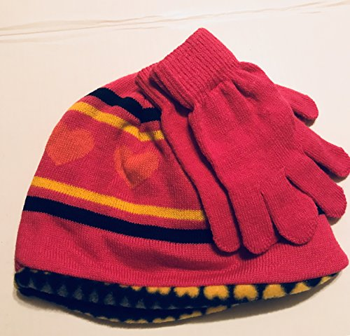 Winter Originals Reversible Pink Print Hat and Gloves Set