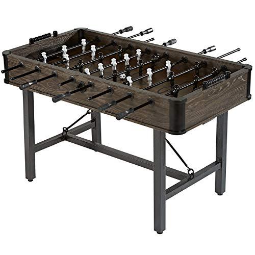 HealthyBells 56 Inch Chandler Steel Leg Foosball Soccer Table, Furniture Style, Wood Grain, 2 Soccer Balls