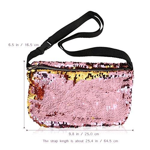 OULII Tasche Double Color Pailletten Tasche Casual Outdoor Sports Gürteltasche (Gold + rosa)