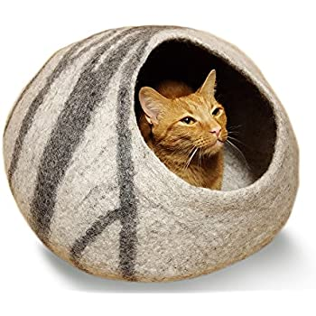 MEOWFIA Premium Felt Cat Cave Bed (Large) - Eco Friendly 100% Merino Wool Bed for Large Cats and Kittens(Light Grey)